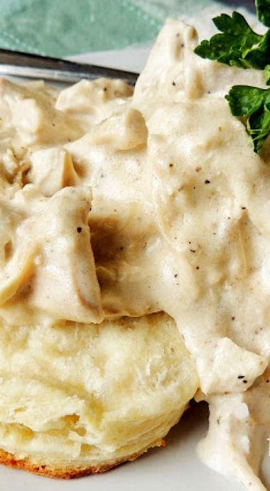 Creamed Turkey Over Biscuits ❊