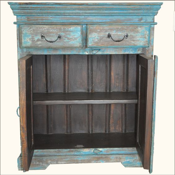 Reclaimed wood distressed hand painted rustic hardwood
