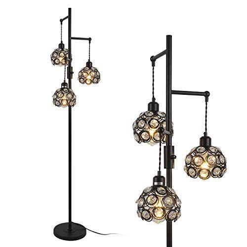 Stepeak Dimmable Tree Floor Lamp Crystal 3 Light Tall Lamp Industrial Task Standing Light Sofa Light For Livin In 2020 Living Room Lighting Tree Floor Lamp Tall Lamps
