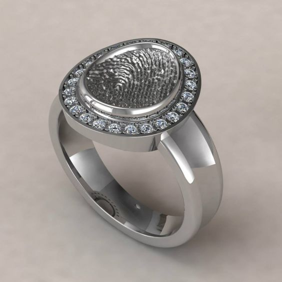 Signet ring with diamonds 20cttw available in 14k white for Fingerprint jewelry by first impressions