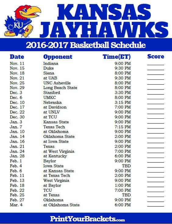 Kansas Jayhawks 2016-2017 College Basketball Schedule