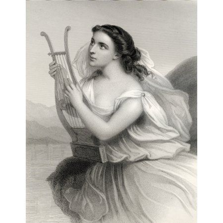 SapphoBorn Between 630612 BC 570 BC Ancient Greek Lyric Poet Engraved Francis Holl By After G Staal From The Book World Noted Women By Mary Cowden Clarke Published 1858 Canvas Art - Ken Welsh Design