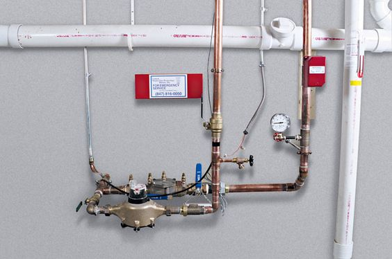 This is a typical home fire sprinkler system riser.