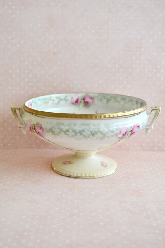 Stunning Antique RS PRUSSIA Pedestal Porcelain Bowl