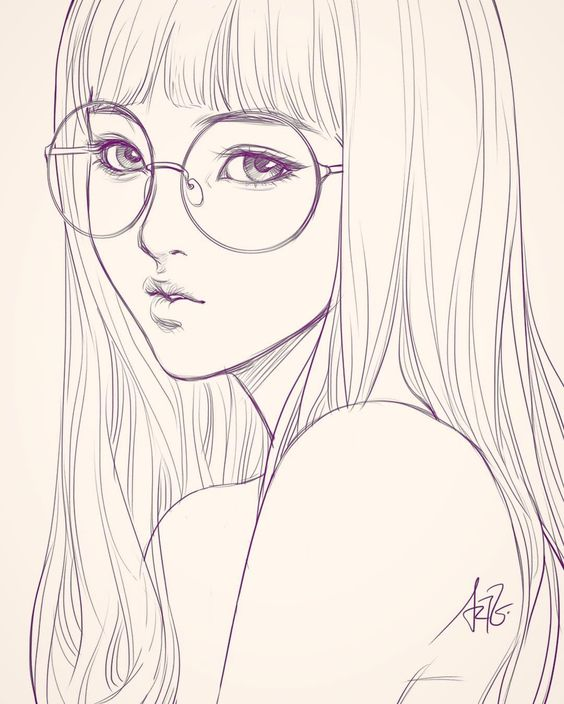 Last Sketch Of Girl With Glasses. Having Bad Backache It Hurts. ;/ | 03# Style To Learn LineArt ...