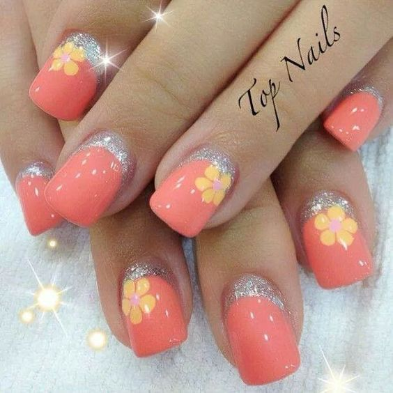 Rosy Peach Reverse French Nails with Silver Glitter and Orange Daisies #nails #nailart