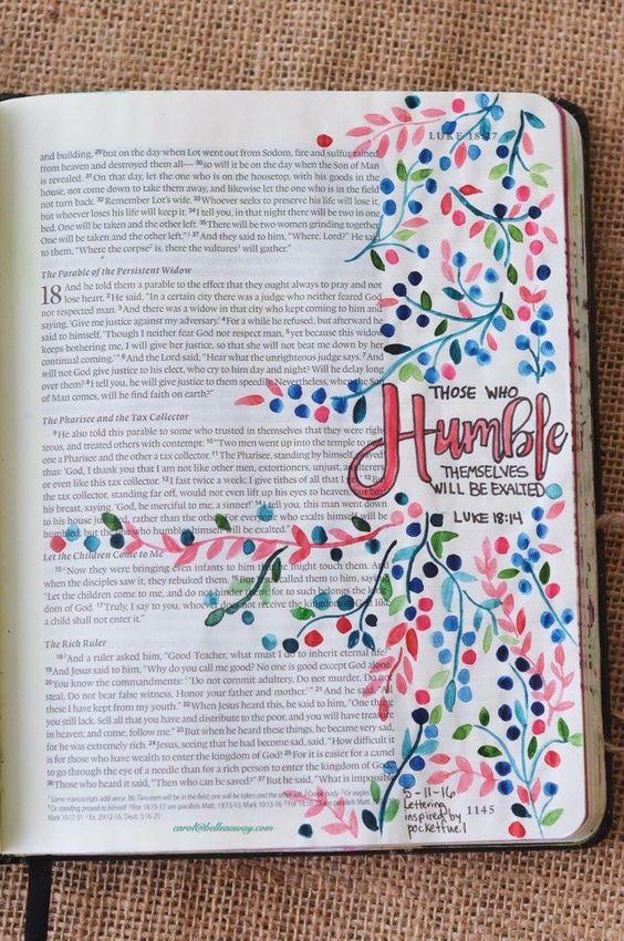Luke 18:14, May 11, 2016, carol@belleauway.com, watercolor, Illustrated Faith pen, bible art journaling, bible journaling, illustrated faith