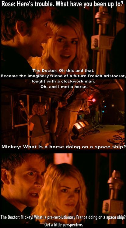 Perspective (doctor who,david tennant,rose tyler,mickey,9th doctor,bbc,horse,space ship,france)