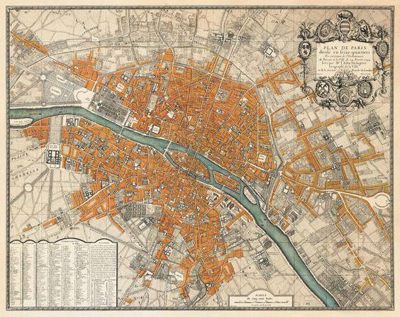 Paris map Old map restored Plan de Paris Wall map fine art – Plan De Paris Map