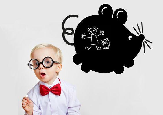 Lavagna adesiva per decorare le pareti dei tuoi bambini- Blackboard for children's room.  Il Topolino. Creazione la Banda del Riccio www.etsy.com/shop/labandadelriccio
