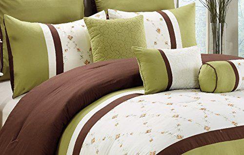 Modern 7 Piece Bedding Sage Green / Brown / White Embroid…