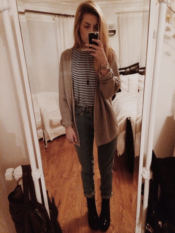 outfit :-) american apparel high waisted jeans, heeled black combat boots, aa striped tshirt, gray brandy cardigan, random necklace xx