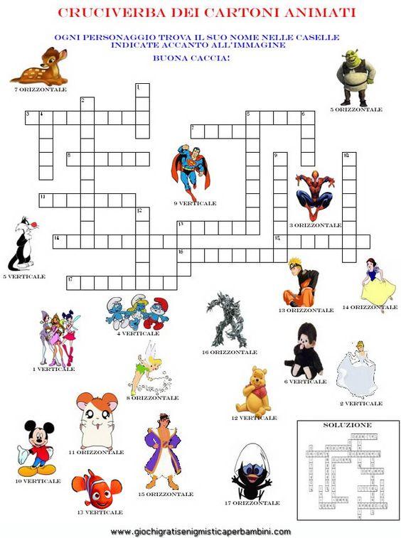 Cartoni animati enigmistica per bambini e ragazzi