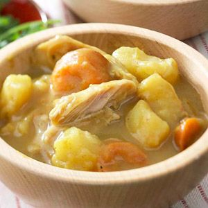 Slow Cooker Chicken and Vegetable Stew -- only 6 simple ingredients! Use low sodium organic GF chicken broth.