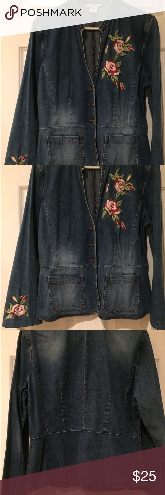 Bell sleeves denim jacket Bell sleeves, 3 front button up & embroidered denim jacket with front square pockets. Ralsey Jackets & Coats Jean Jackets