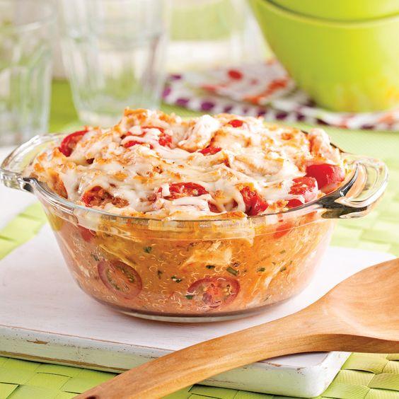 Casserole de quinoa gratiné au poulet - Soupers de semaine - Recettes 5-15 - Recettes express 5/15 - Pratico Pratique