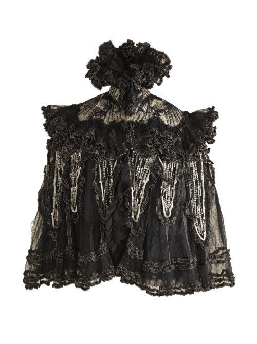 Capelet, Cotton Lace, Embroideries with Sequins and Pearls, 1895