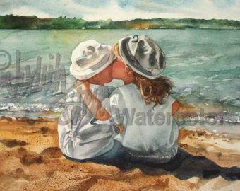 Hermana amigo abrazo playa blanco vestido paja por steinwatercolors