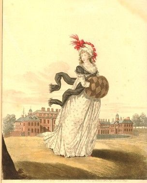 1796 Portrait of Queen Charlotte, full length, walking in St James's Park, with Buckingham House in the background; illustration from the Gallery of Fashion.  British Museum 1880,1113.2399: