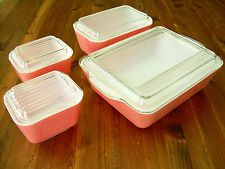 Vintage Pink Pyrex 8 Piece Set of Refrigerator Dishes