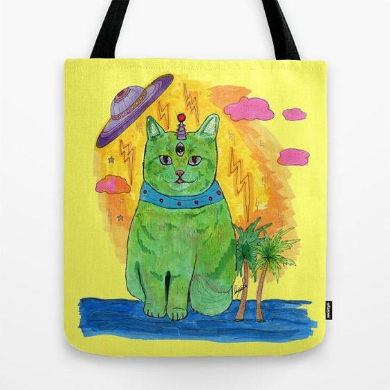 Alien Cat Tote Bag by IndiaSpenceArt on Etsy