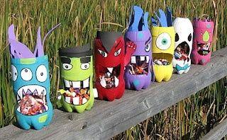 Preschool Crafts for Kids*: Halloween Recycled Bottle Monster Crafts