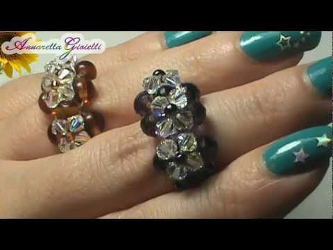 Tutorial anello swarovski - per principianti - (DIY swarovski ring) - YouTube (Not in English, but her video is easy to see and understand).