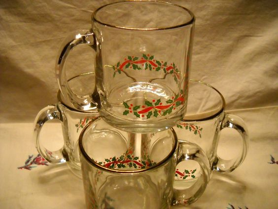 Vintage Glass Christmas Mugs With Gold Trim & Holly by RepeatAct, $15.00