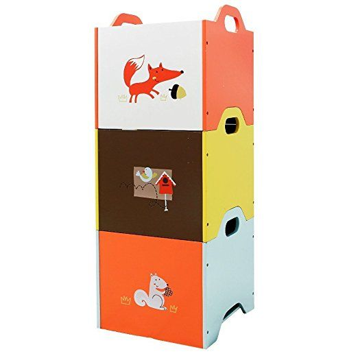 Labebe Wooden Toy Storage Bin 3 Color Combined Stackable Fox Toy Bin Closed Door Baby Toy Chest W Toy Storage Organization Toy Storage Bins Kids Storage Bins