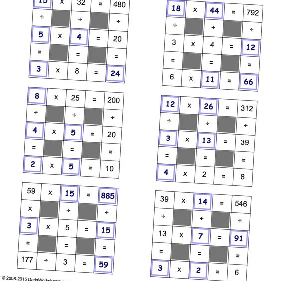 math worksheet : grid puzzles multiplication and division with missing values to  : Dads Worksheets Multiplication