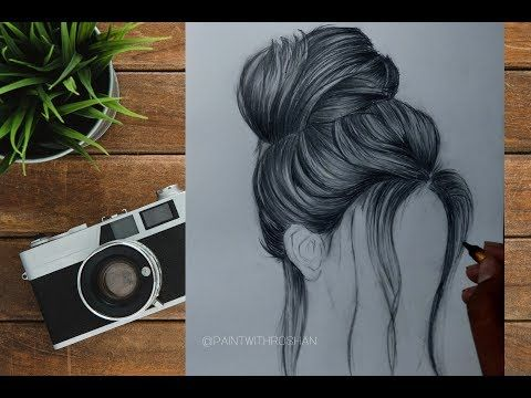 How To Draw A Realistic Hair Drawing Tutorial In Hindi Paint