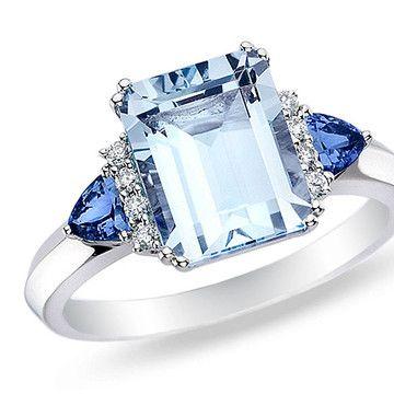 beautiful sapphire, aquamarine and diamond ring