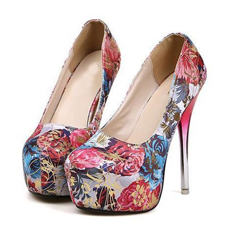 Victorian Design Red Floral High Heel Fashion Shoes