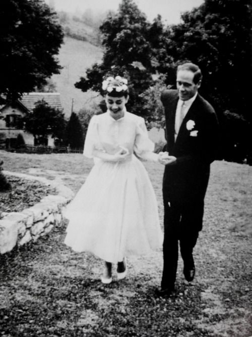 Audrey no dia de seu casamento com Mel Ferrer, Setembro 1954