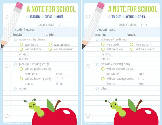 Green cute printable school notes if your little on is going to be - absence note