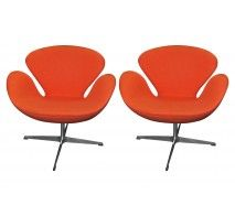 Kardiel Orange Boucle Wool Chairs Front