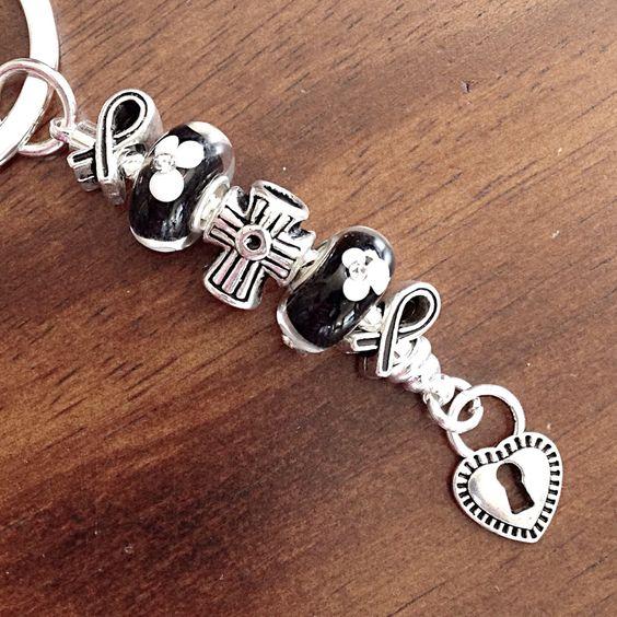 Christian Keychain, Car Accessories, Silver Cross Keychain, Murano Bead Keychain, Heart Charm Keychain by DorysBoutique on Etsy