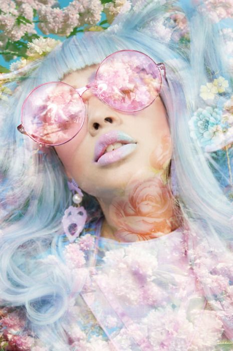 Xtra inspiration: The image inspired me because of the uncertainty and the unknown. The reflection of her glasses are being overshadowed by the pastel florals, which can be interpreted as a foreshadow of something good taking over or something bad but at the same time, it looks beautiful and vibrant. This makes me feel mysterious and gives me the soft pop vibe.