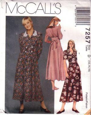 Vintage McCall's, McCalls 7257, Misses Flared Dress, Size 12, 14, 16,  Dress Pattern, Uncut, Factory Folded. c.1994  Uncut and factory folded   See envelope back for details.