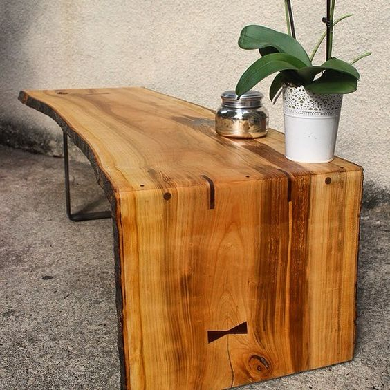 Kitchen Bench Waterfall Edge: Timberforgewoodworks Live Edge Cherry Coffee Table. We