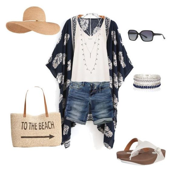 """""""Summer Mom outfit. Kimono, Superga Skinny sandals, Bermuda shorts, sun hat."""" by mommaboss on Polyvore featuring Fat Face, Style & Co., River Island, Oakley, Topshop, Eugenia Kim, FitFlop and Lucky Brand"""