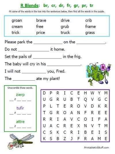 math worksheet : 15 colorful and unique worksheets to practice consonant blends at  : Kindergarten Blends Worksheets