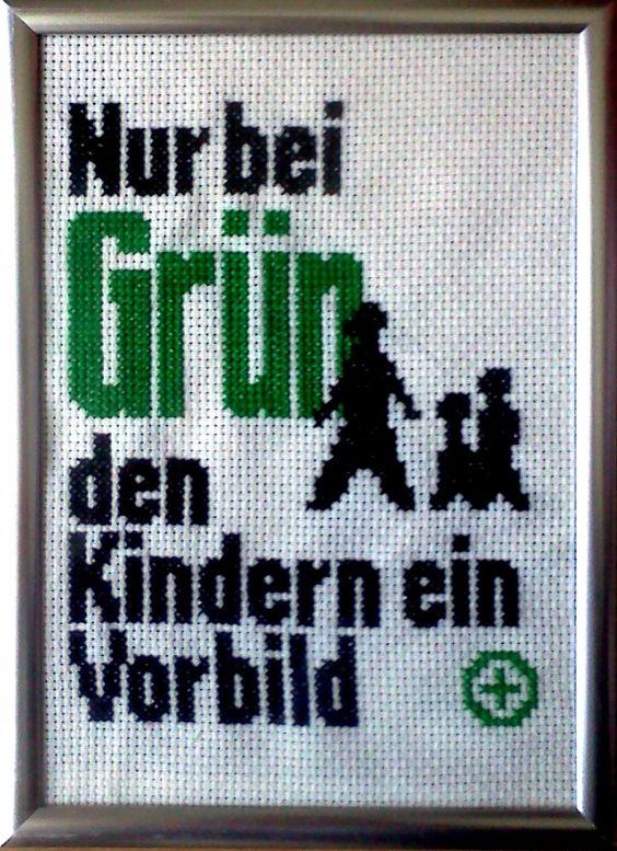 Weirdly patronizing German Street sign cross stitch by Sparrow & Dove