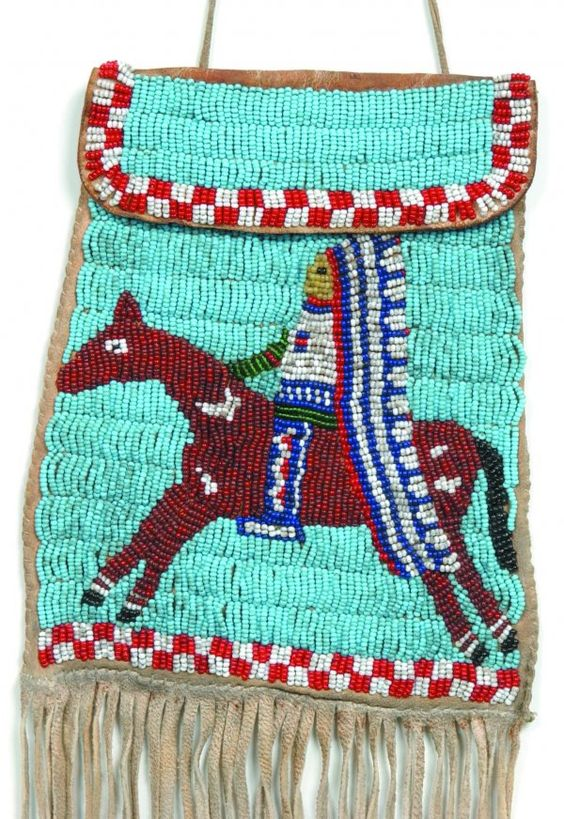 American Indian Bead work Bag ,Square Leather w/Beaded Images.