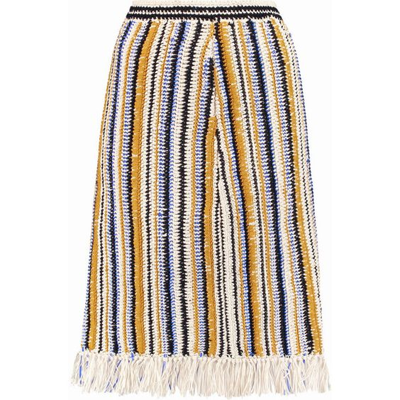 Tory Burch Fringed crocheted cotton skirt (£173) ❤ liked on Polyvore featuring skirts, saffron, crochet skirt, tory burch, knee high skirts, fringe skirt and cotton knee length skirt