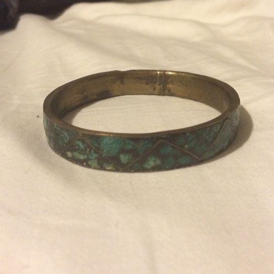 Bangle Bangle. Teal and brown Jewelry Bracelets