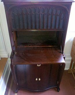 Beautiful redo of a vintage radio cabinet, now bar - HEART HEART HEART - !