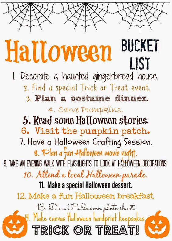 Halloween Bucket List (Free Printable) : The Chirping Moms.  Print this list & check off the fun and easy activities to do with your family as you count down towards Halloween!: