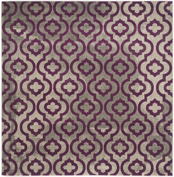 Porcello Light Gray & Purple Area Rug