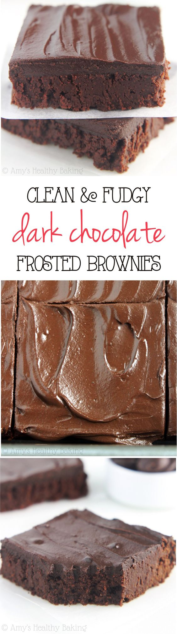 Clean-Eating Fudgy Dark Chocolate Frosted Brownies -- these skinny brownies don't taste healthy at all! They're insanely rich, as easy as a box mix & are only 100 calories! http://amyshealthybaking.com/blog/2015/02/04/clean-fudgy-dark-chocolate-frosted-brownies/